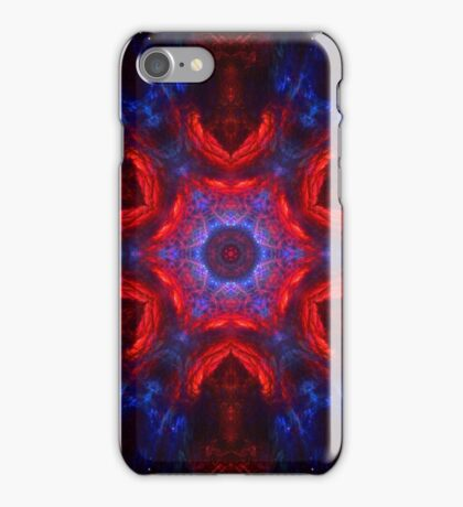 Space kaleidoscope with stars and glitter, red and blue iPhone Case/Skin