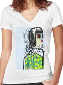 smart girl Women's Fitted V-Neck T-Shirt