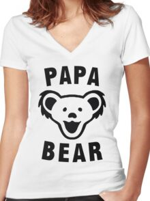 PAPA BEAR Women's Fitted V-Neck T-Shirt