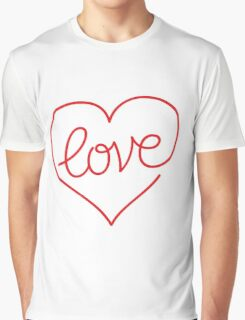 Love (03 - Red on White) Graphic T-Shirt