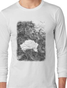 Pink Roses in Anzures 5 Charcoal Long Sleeve T-Shirt