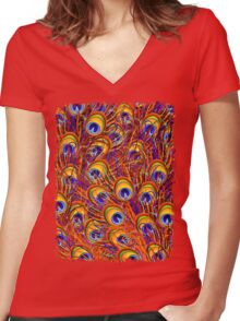 Peacock Feathers Colorful Pattern  Women's Fitted V-Neck T-Shirt