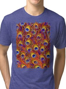 Peacock Feathers Colorful Pattern  Tri-blend T-Shirt