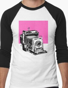 Vintage Graphex Camera in Hot Pink Men's Baseball ¾ T-Shirt