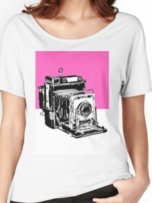Vintage Graphex Camera in Hot Pink Women's Relaxed Fit T-Shirt