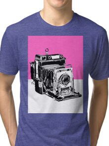 Vintage Graphex Camera in Hot Pink Tri-blend T-Shirt
