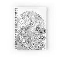 Silver Peacock  Spiral Notebook