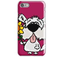 Cool Funny White Shaggy Dog with Flower iPhone Case/Skin