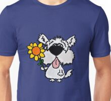 Cool Funny White Shaggy Dog with Flower Unisex T-Shirt