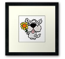 Cool Funny White Shaggy Dog with Flower Framed Print