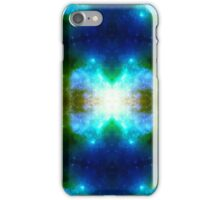 Blue X galaxy kaleidoscope, psychedelic design with stars iPhone Case/Skin