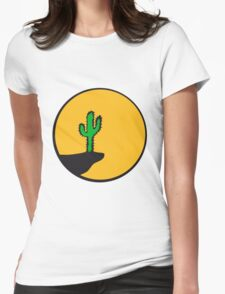 sun night moon cliff mountainside werewolf cactus sunset full moon desert canyon cactus Womens Fitted T-Shirt