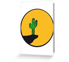 sun night moon cliff mountainside werewolf cactus sunset full moon desert canyon cactus Greeting Card