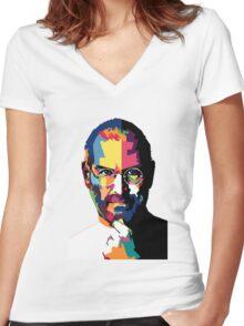 Steve Jobs   PolygonART Women's Fitted V-Neck T-Shirt