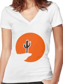 sun night moon cliff mountainside werewolf cactus sunset full moon desert canyon cactus Women's Fitted V-Neck T-Shirt