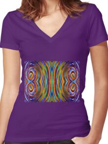 Psychedelic 4 Circle Supreme Women's Fitted V-Neck T-Shirt