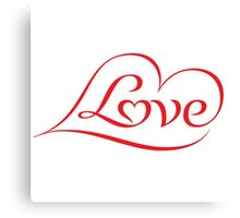Love (04 - Red on White) Canvas Print