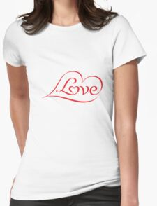 Love (04 - Red on White) Womens Fitted T-Shirt