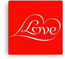 Love (04 - White on Red) Canvas Print