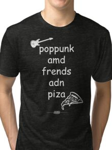 Pop Punk and Friends and Pizza - White Tri-blend T-Shirt