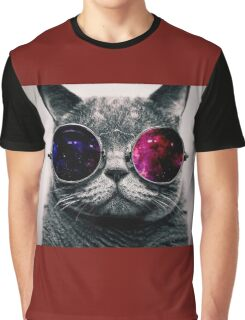 Cat With Glasses Graphic T-Shirt