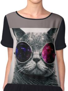 Cat With Glasses Chiffon Top