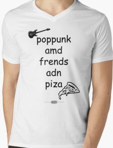 Pop Punk and Friends and Pizza - Black Mens V-Neck T-Shirt