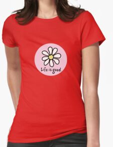 Life is Good Pink Womens Fitted T-Shirt