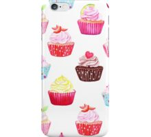 Watercolor cupcakes vector seamless pattern. Hand drawn background. iPhone Case/Skin