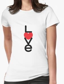 Love (05 - Black & Red on White) Womens Fitted T-Shirt