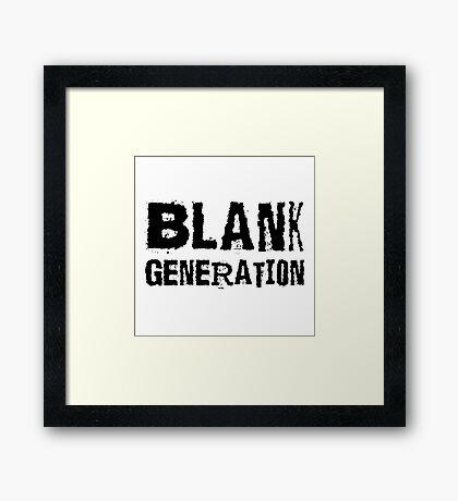 Black Generation Punk Rock Music Richard Hell Framed Print