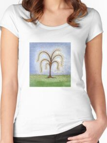 Whimsical Willow Tree Women's Fitted Scoop T-Shirt