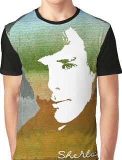 BBC Sherlock Holmes Watercolor Art Graphic T-Shirt