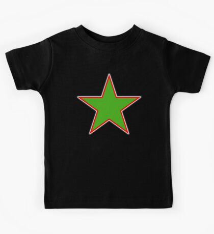 GREEN, STAR, RED OUTLINE, on Black Kids Tee