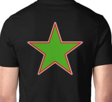 GREEN, STAR, RED OUTLINE, on Black Unisex T-Shirt