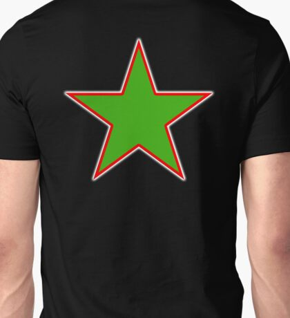 GREEN, STAR, Red outline, environment, environmentalist, ecology, eco, nature, verdant, on Black Unisex T-Shirt