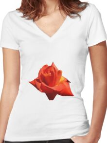 Beautiful Red Rose Photograph Vector Women's Fitted V-Neck T-Shirt