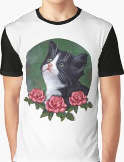 Cat with Pink Roses: Oil Pastel Art, Kitten Graphic T-Shirt