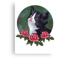 Cat with Pink Roses: Oil Pastel Art, Kitten Canvas Print