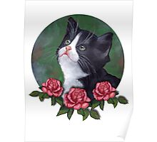 Cat with Pink Roses: Oil Pastel Art, Kitten Poster