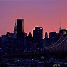 Manhattan and Queensboro Bridge by Jean-Luc Rollier