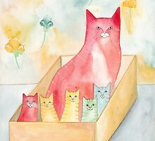 Mom and Kittens in a Box by Ryan Conners