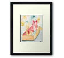 Mom and Kittens in a Box Framed Print