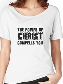 The Power Of Christ Compells You Exorcist Quote Horror Scary Women's Relaxed Fit T-Shirt