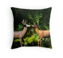 Doe and Buck Deer Kissing Throw Pillow