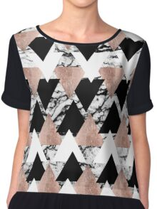 Modern Black White Rose Gold Triangles on Marble Chiffon Top