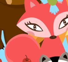 Cute Forest Animals Bear Fox Raccoon Porcupine Sticker
