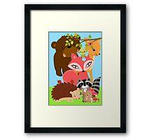 Cute Forest Animals Bear Fox Raccoon Porcupine Framed Print