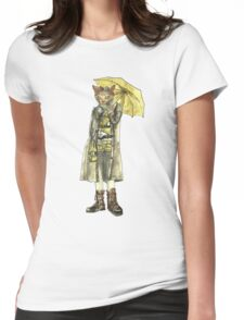 Steampunk Yellow Umbrella Cat Womens Fitted T-Shirt