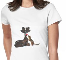 """""""Rudy....would you guide my sleigh tonight?"""" Womens Fitted T-Shirt"""